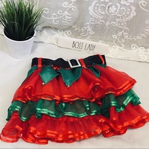 Girls Christmas Elf Tiered Tulle Skirt